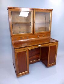 SWEDISH ANTIQUE ROSEWOOD VICTORIAN GLASS FRONTED BOOKCASE FITTED WITH DRAWERS SHELVES & CUPBOARDS