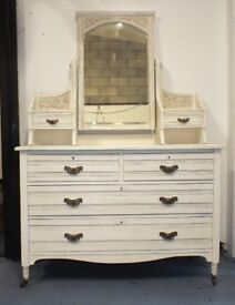BEST OFFER: Up-cycled antique Victorian Dressing Table with Swing Mirror - Shabby Chic