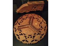 oriental wooden hand-carved, folding, stool or occasional table