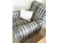 Pair of checked armchairs