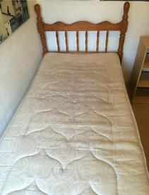 Single solid wood bed with mattress