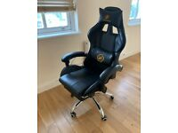 LuckRacer Black Leather Racing Swivel Gaming Office Chair with USB Massage Chair