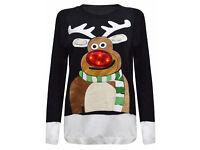 Joblot of 35 Black Xmas Jumpers Unisex Mens Womens Size S/M Reindeer Nose Light Up & Music Sweater