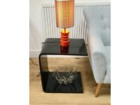 VINTAGE 1980s LACQUER SIDE TABLE COFFEE TABLE, RETRO, LAMINATE, POP ART, 1970s, BLACK