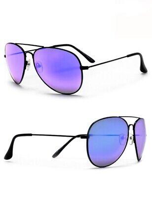 HOT Lavender Purple Mirror Black Frame Aviator Fashion Blogger Sunglasses -