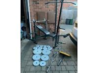 Bench press, barbell, ez bar, dumbbell and 50kg weights