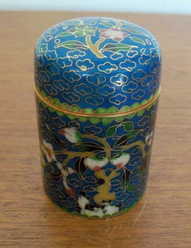 CHINESE CLOISONNE ENAMEL TRINKET BOX JAR WITH LID CANDLE HOLDER BLUE