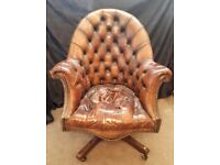 Ship's Captain Director's Tan Leather Armchair - Restoration Project