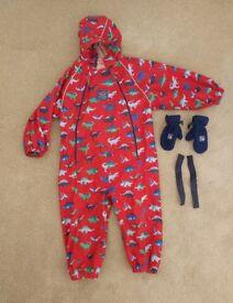JoJo Maman Bebe pack away waterproof all in one 2-3yrs and fleece mittens 1-2yrs