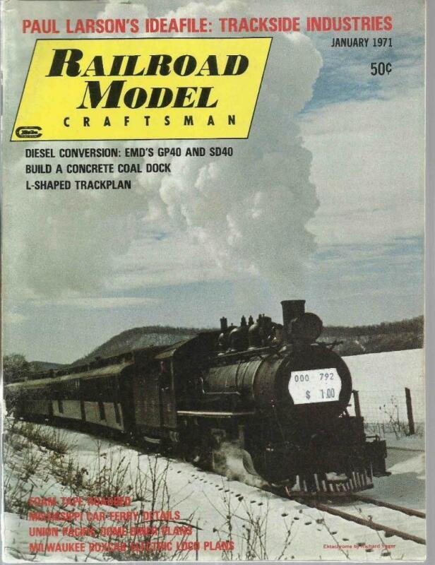 Railroad Model Craftsman January 1971 Concrete Coal Dock L-Shaped Track Plan