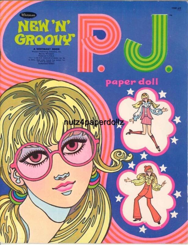 VINTAGE 1970 GROOVY PJ PAPER DOLLS  P J  ~WHITMAN CUTE~Retro  LASER REPRODUCTION
