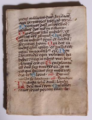 Manuscript Psalter 15th Century 1400s German Rubricated Illuminated Vellum
