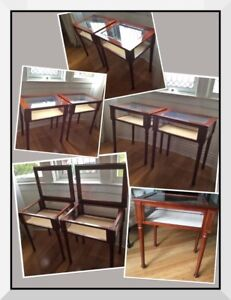 Collectable 1990's Bombay wood Curio tables with bevelled glass