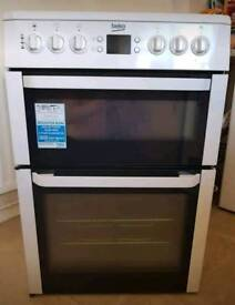 Electric White Beko double oven, grill and hob