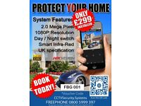 Home & Business High Definition CCTV System - 1080P HD - Smartphone Viewing - £299.99