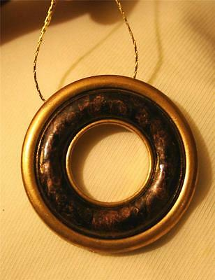 Handsome Bronze Color Speckled Raised Open Circle Goldtone Pendant Necklace