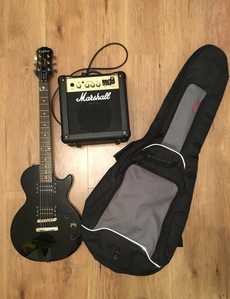 Epiphone Les Paul Special 2 with practice amp.