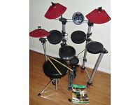 ROCKBURN DTX-50 ELECTRONIC DIGITAL DRUM KIT SET, STOOL & STICKS