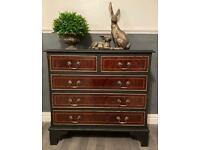 Newly refurbished vintage petite chest of drawers tv sideboard