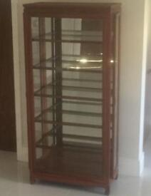 Solid rose wood display cabinet with spot lights