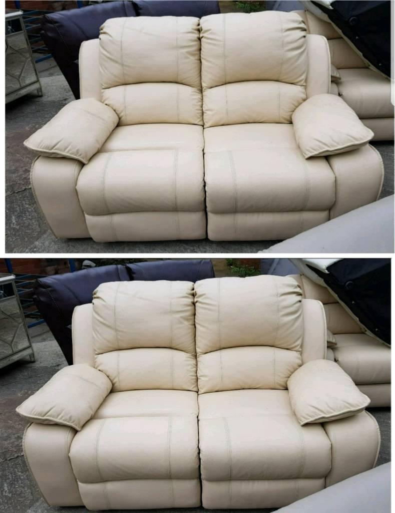 Cream leather 2 & 2 seater sofa recliner