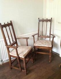 2 genuine jacobean ercol chairs with seat pads, including table. Lovely condition.
