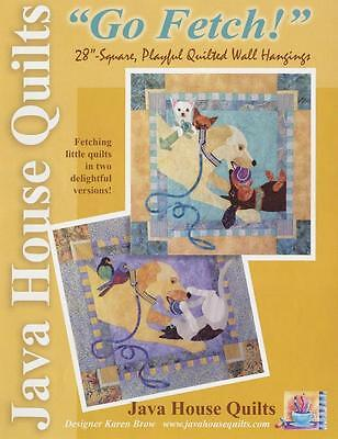 Java House Go Fetch Dog Cat Bird 2 Wall Quilt Pattern Applique Piecing