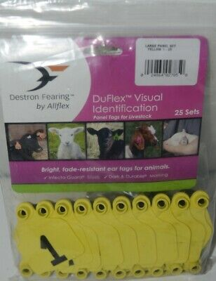 Destron Fearing Duflex Visual Id Livestock Panel Tags Yellow 25 Sets 1 To 25