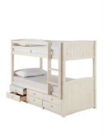 Bunk Beds with 6 Drawer storage underneath - White Kidspace Georgie With 2 Mattresses