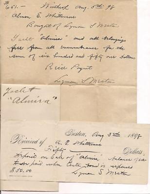 "Bill of Sale & Receipt for Yacht ""Almira"" for $651.00 Aug 1898 Winthrop, Mass."
