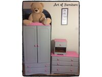 Pine Bedroom Furniture Wardrobe Chest of Drawers Bedside Table Hand Painted ANNIE SLOAN Chalk Paint