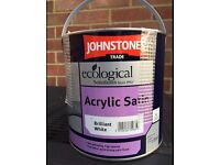 2.5lt Johnstones Acrylic Water Based Satin Finish Paint Brilliant White 5 Litres
