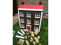 Hand painted dolls house vgc with furniture ideal Xmas present