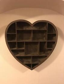 Wooden heart shaped storage unit/frame