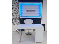 MANICURE TABLE WHITE GLOSS NAIL TABLE BEAUTY FURNITURE CHAIR