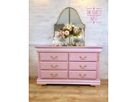 Blush Pink Chest of Drawers with French Script