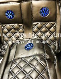 VW TRANSPORTER T5 VAN SEAT COVERS VW LOGO BLUE BENTLEY PREMIUM