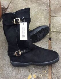 Brand New With Tags Ladies Black Suede Boots. Size 8 . Brand Debenhams Good for the Sole