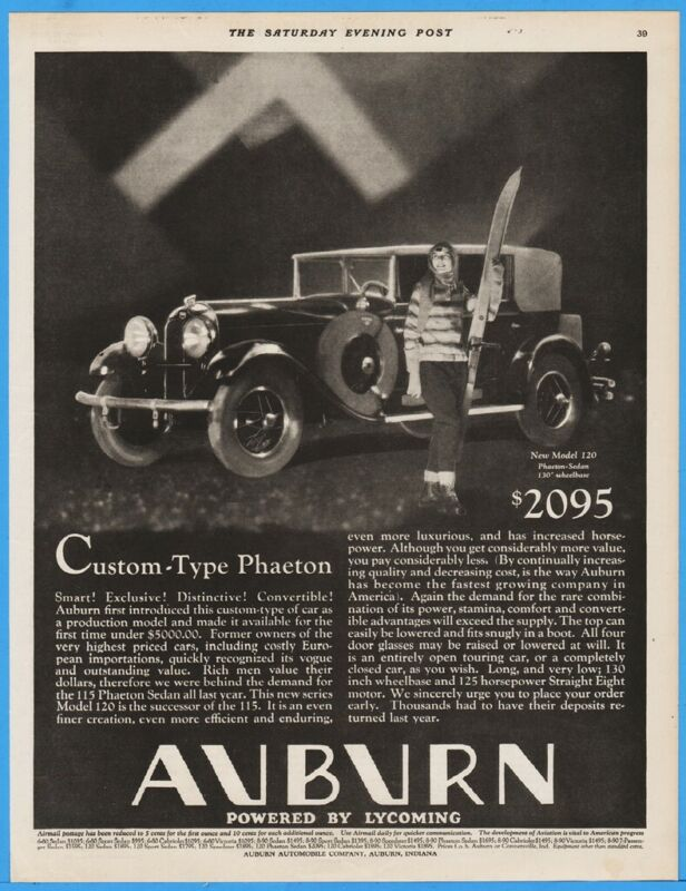 1929 Auburn Automobile Co IN Model 120 Phaeton Sedan Woman Skier Car Ad