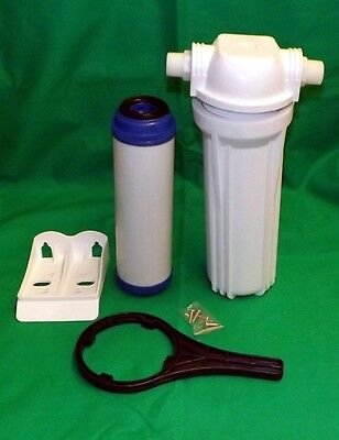 10 Inch Laundry Water Pre Filter Complete. Housing, Charcoal Filter, Bracket