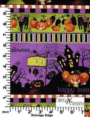 Happy Haunting Halloween Linear Fabric F944 BY THE HALF YARD - Happy Halloween Fabric