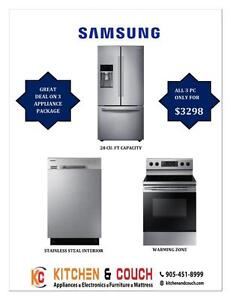 SAMSUNG APPLIANCES || BRAND NEW GREAT 3 PC PACKAGE DEALS - FRIDGE, STOVE & DISHWASHER (AD 383)