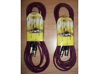 2 x Purple Livewire Microphone leads