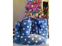 Brand new blue and white spotty slipper boots size 6 & 8
