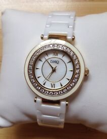 QVC diamonique white ceramic watch with crystal bezels