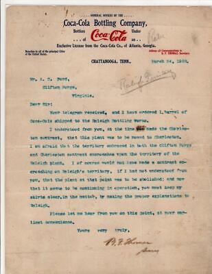 Vintage 1903 letter Coca-Cola Bottling Co Chattanooga TN