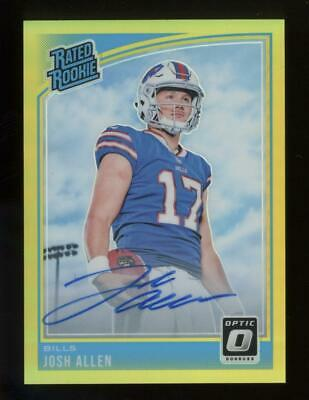 2018 Panini  Donruss Optic Gold Prizm #154 Josh Allen 06/10 Auto RC Rookie