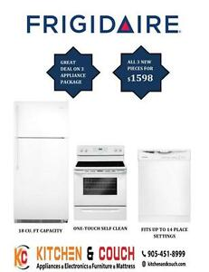 BRAND NEW APPLIANCE'S MEGA SALE || GREAT 3 PC FRIGIDAIRE PACKAGE DEAL - FRIDGE, STOVE & DISHWASHER (AD 395)
