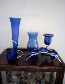 Royal Blue Glass Candle Holders