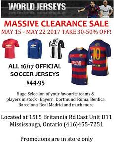 Soccer Jerseys 16/17 Season Clearance Sale Official Brand New